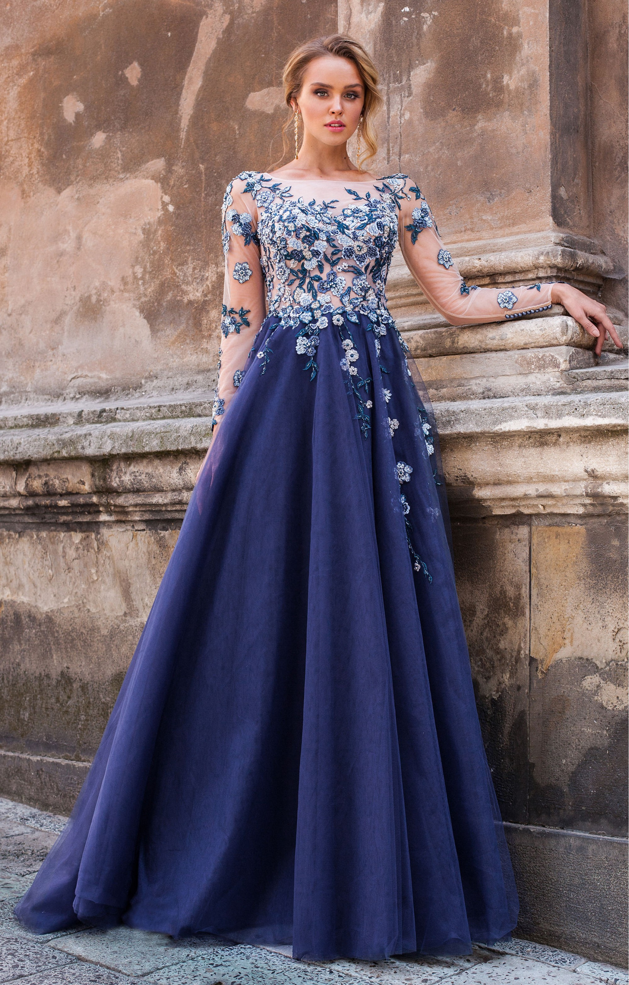 "Couture Dress ""Charleen"" Blue"