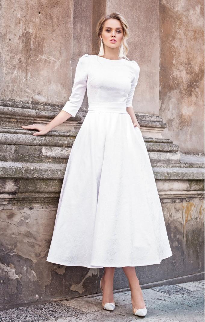 """Jacquard Kleid """"Alyzee"""" Weiß"""