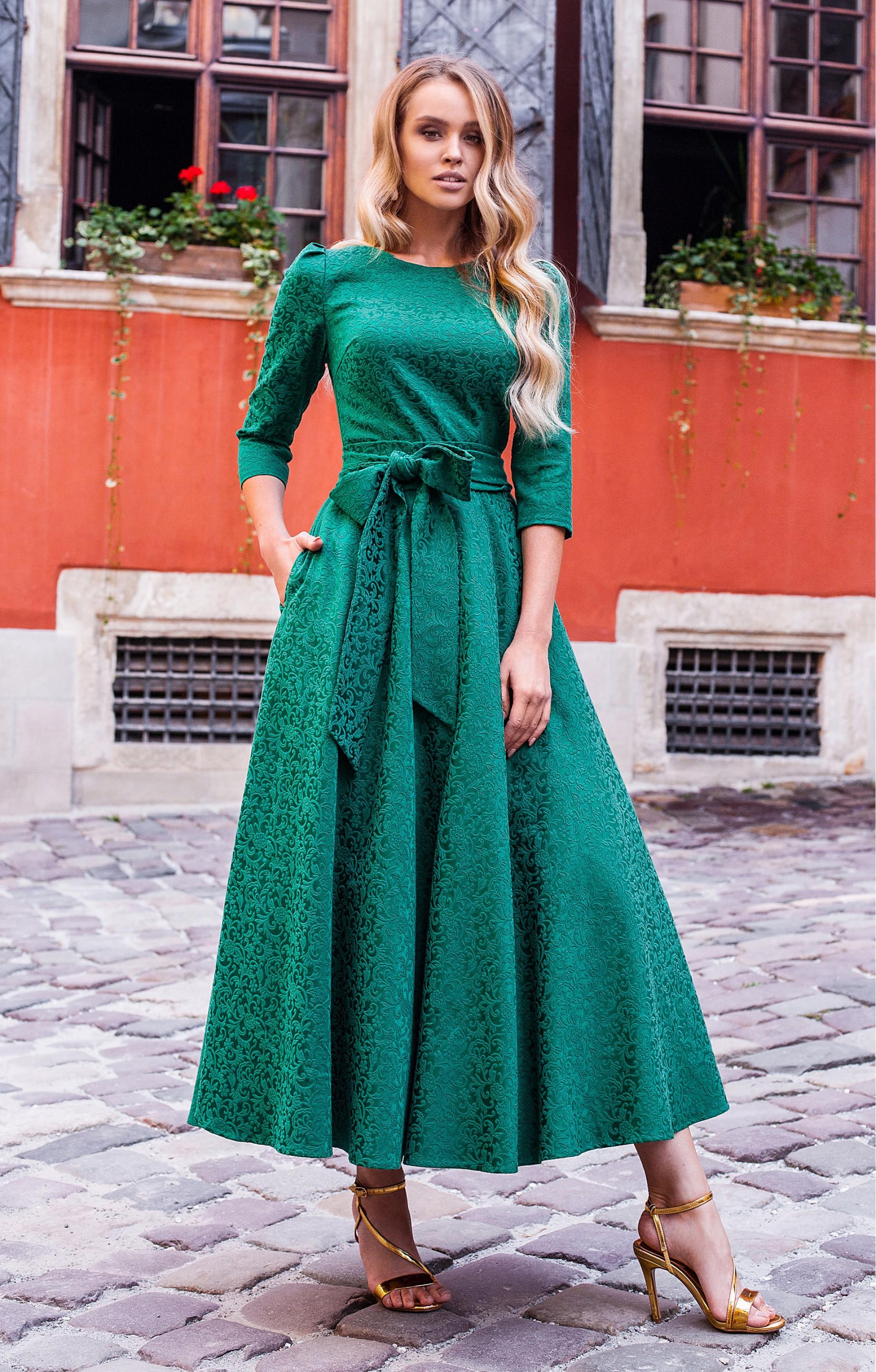 """Jacquard Kleid  """"Alyzee"""" Smaragd"""