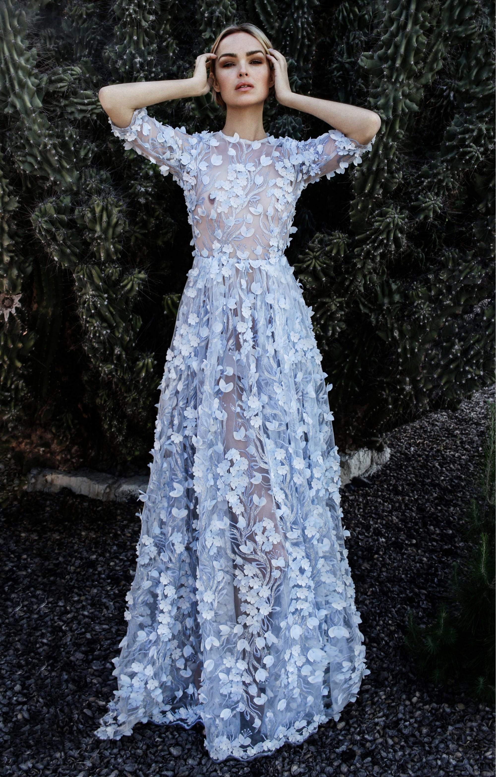 "Couture Abendkleid ""Noemi"" Hellblau"