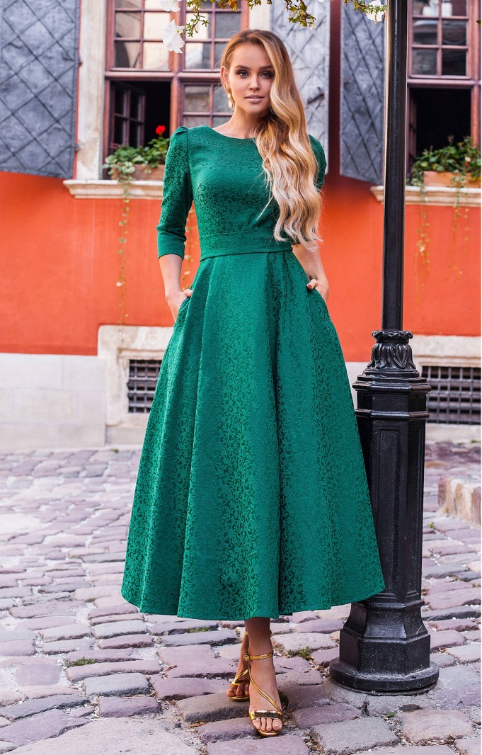 "Jacquard dress ""Alyzee"" Emerald"