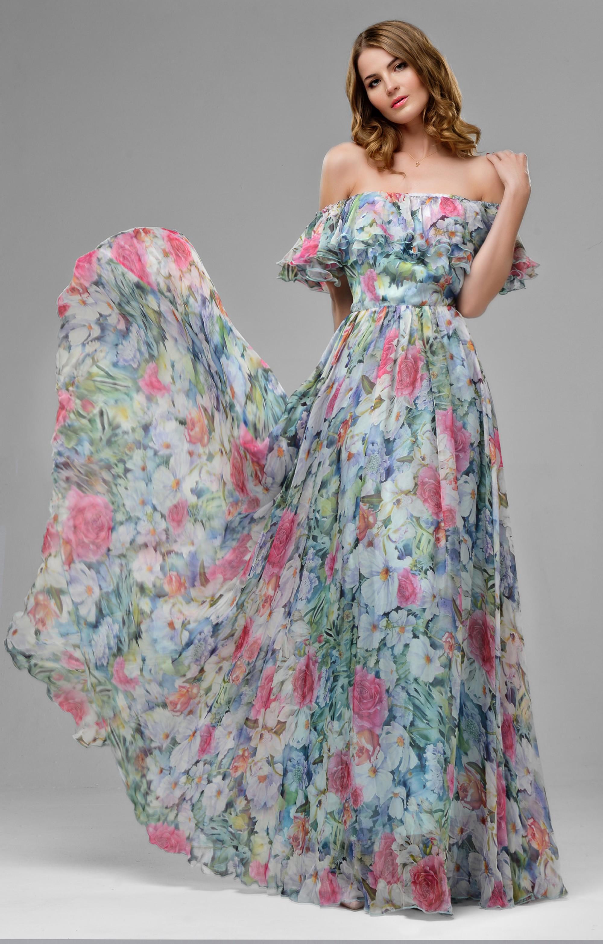 "silk dress ""margo"" blue maxi"