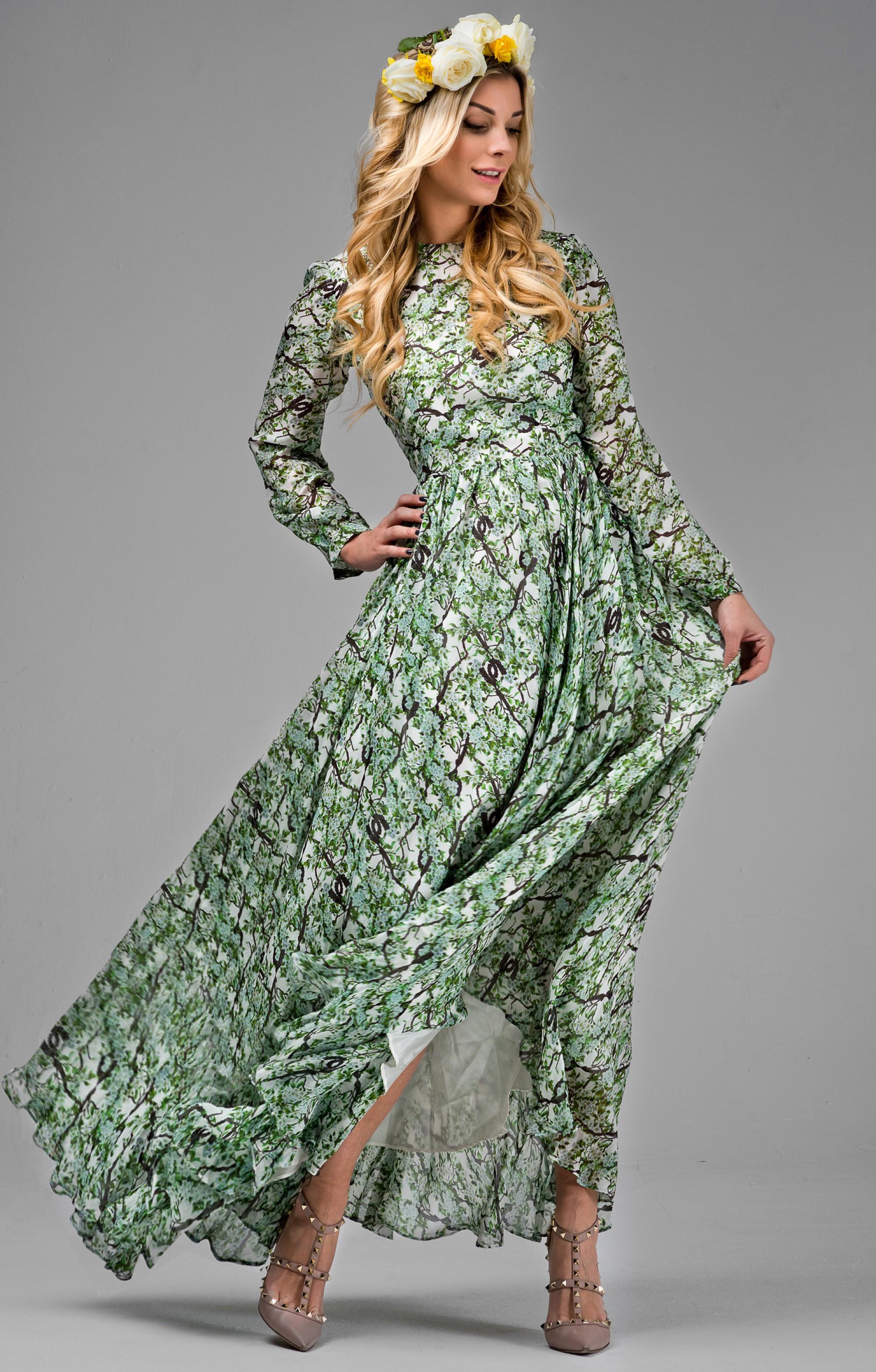 """Abendkleid aus Seide  """"Michelle""""  mit Ärmeln / Grün"""