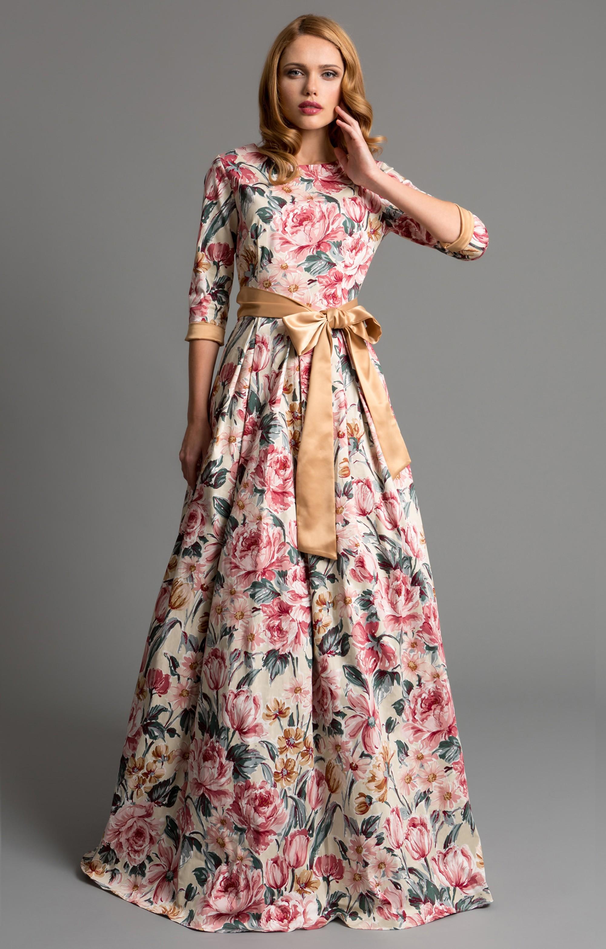 """Abendkleid """"Aurora"""" Gold  mit Blumenmuster"""