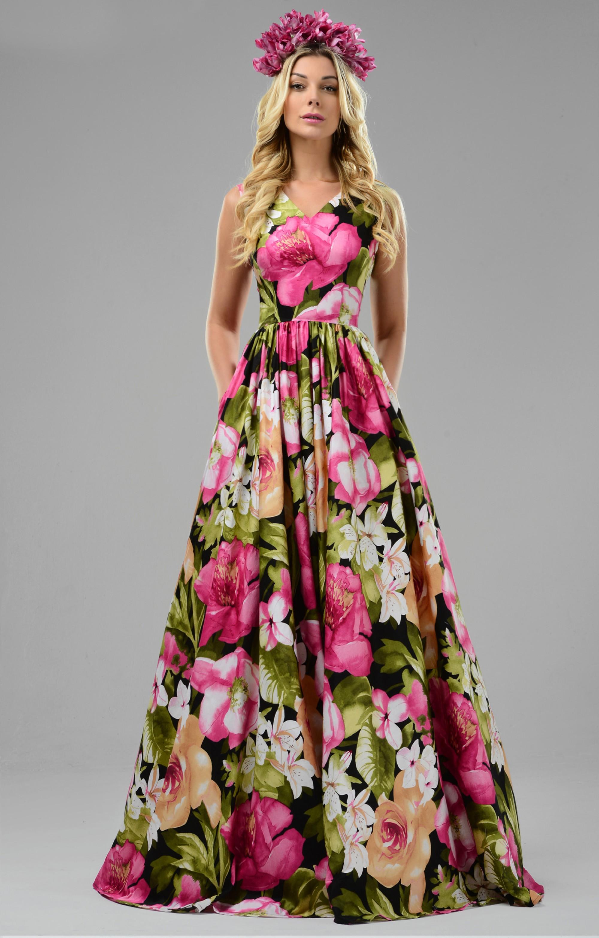 """Abendkleid """"Jana"""" mit Blumenmuster"""