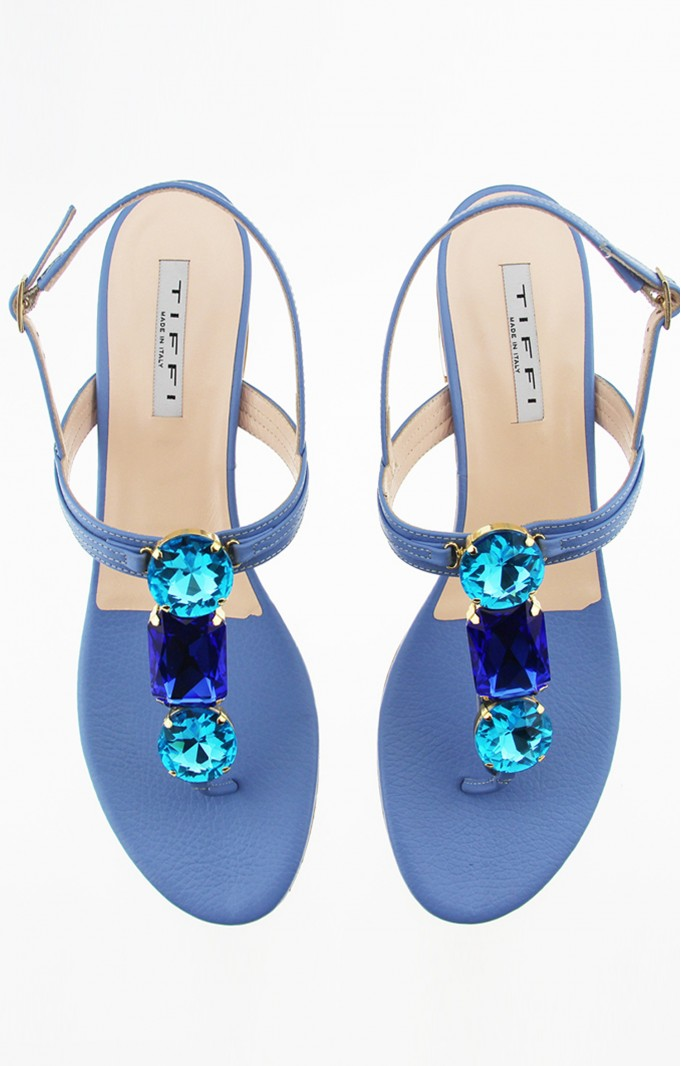 Tiffi Sandals Blue Crystals