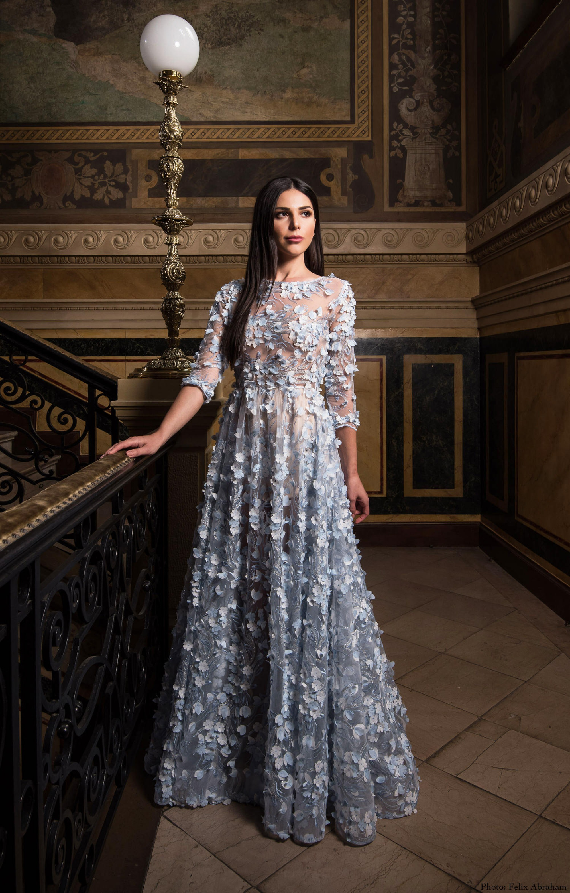 "Couture evening dress ""Noemi"" Blue"