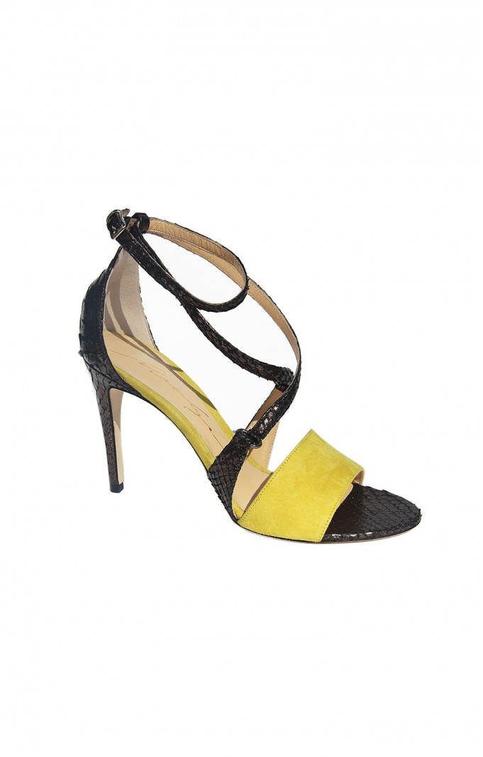 Leather High Heels Merlyn YELLOW SUEDE / PYTHON