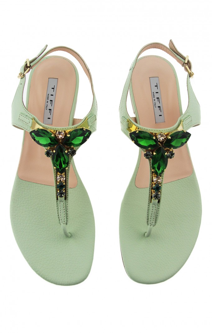 Tiffi Sandals Green Crystals