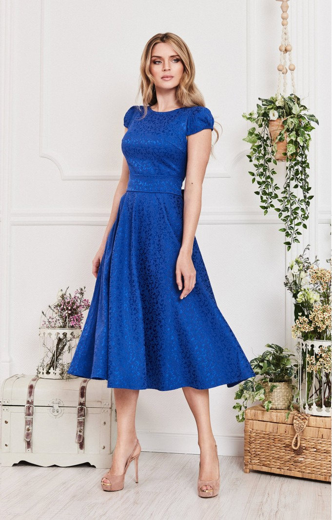 "Cocktail dress ""Karin"" Royal Blue with detachable sleeves"