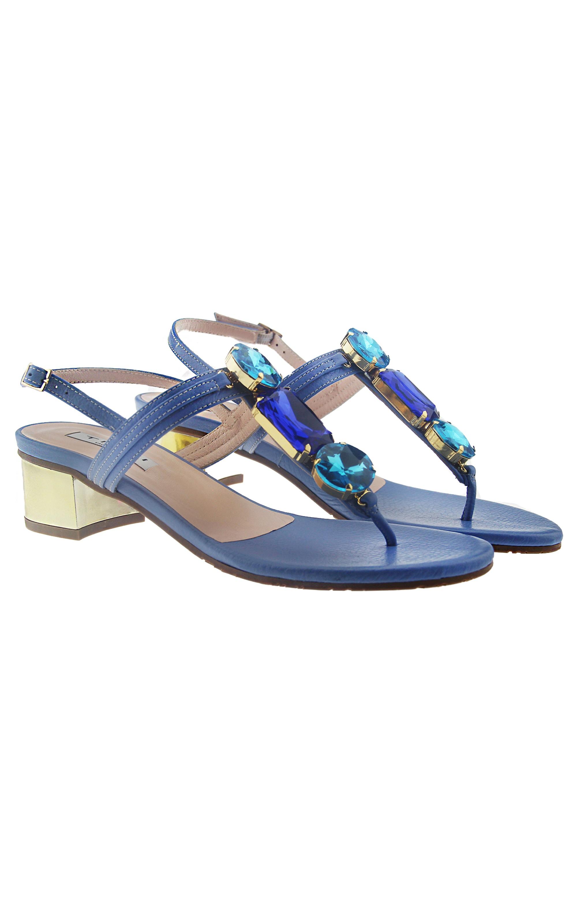 Tiffi Leder Sandalen mit blauen Kristallen