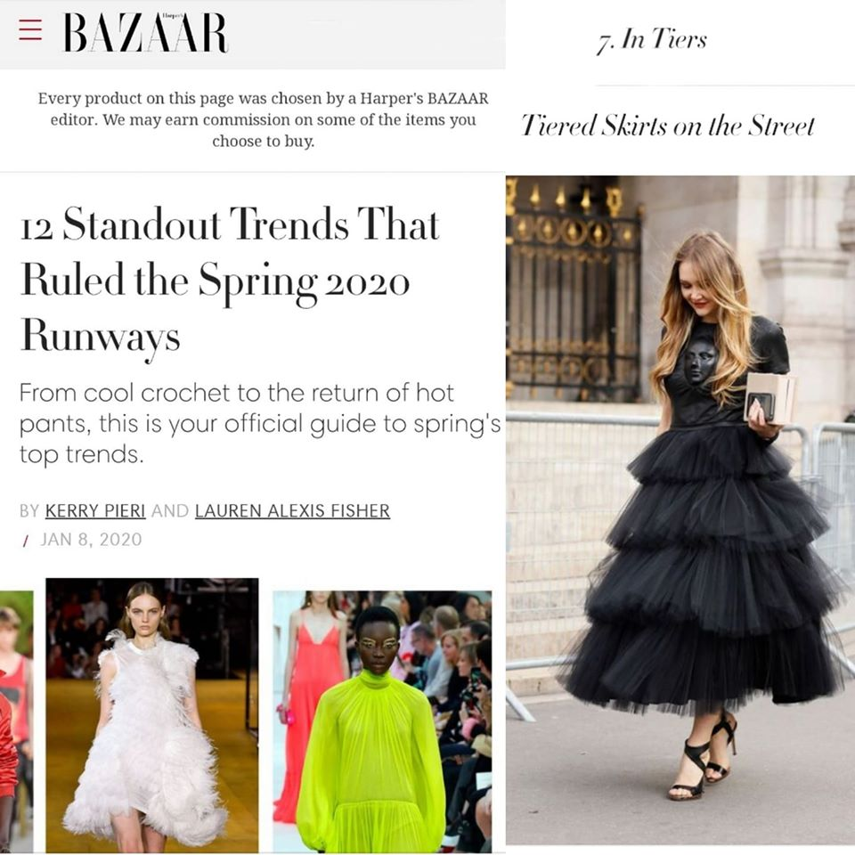 "Ilona Matsour in dress ""Face""  published in Harper's BAZAAR (USA) in Top Spring Fashion Trends 2020"
