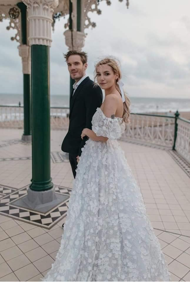 "YouTube's biggest star PewDiePie just got married to his fiancée Marzia Bisognin. Beautiful  Marzia  wearing the dress ""Loreen"" made by  MATSOUR'I"